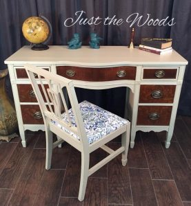 burl-wood-desk, vintage desk, painted desk, just the woods, ny