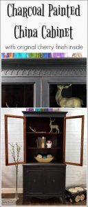 charcoal-painted-china-cabinet-with-cherry-wood, vintage china cabinet, painted furniture