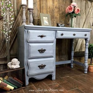 desk-painted-layered-gray-main, vintage desk, chalk paint, painted desk, shabby chic, layered chalk paint