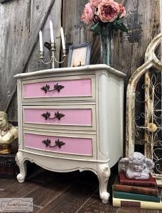 french-provincial-painted-chest, painted furniture, vintage, curvy furniture, shabby chic, distressed, pink paint, chalk paint