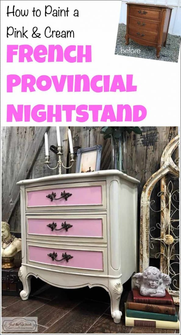 Paint French provincial chest of drawers hand painted in pink and off-white with antique glaze creating a pink and cream look. | french provincial | french provincial painted furniture | pink painted furniture | girls room furniture | french provincial painted dresser
