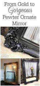 gold-to-gorgeous, metallic pewter mirror, ornate mirror