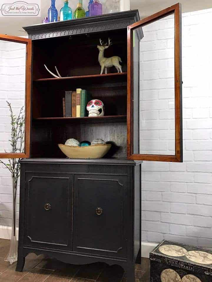 Vintage China Cabinet Painted Custom Charcoal With