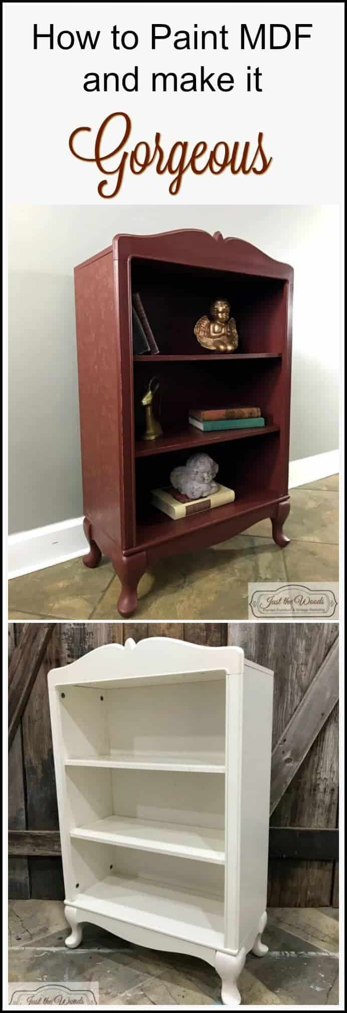 How to paint MDF. Love painted furniture but you have a piece that's not wood? You can still paint it with these easy steps. A cranberry painted bookcase makeover in deep cranberry paint, with a metallic gold stencil added to the sides.