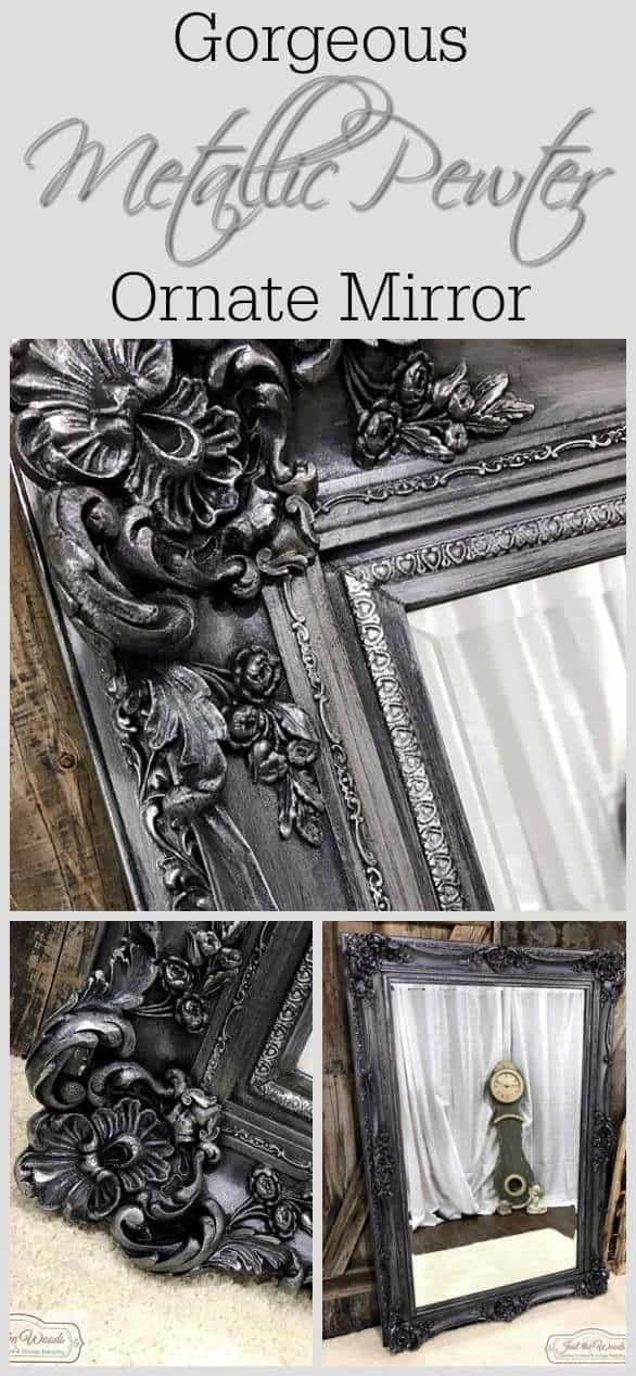 Vintage ornate mirror makeover transforming from the original gold to a metallic pewter with silver highlights. #pewtermirror #paintedmirrorframe #paintedmirrorideas #paintingamirrorframe #metallicpaintedmirror