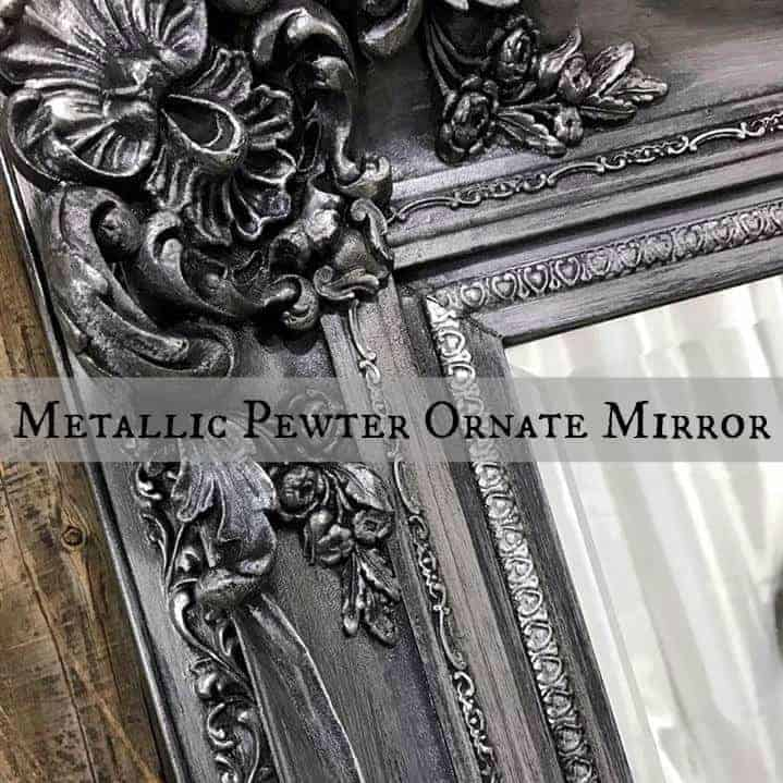metallic pewter, painted mirror, just the woods, nyc, ornate mirror