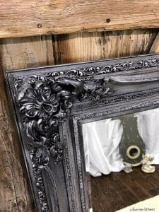 metallic-pewter-painted-mirror, chalk paint, metallic pewter, painted mirror, staten island, just the woods