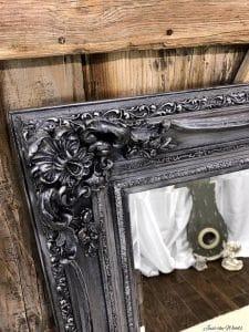 metallic-pewter-painted-mirror, chalk paint, metallic pewter, painted mirror, staten island, just the woods
