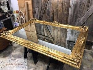 mirror-on-sawhorse, large ornate mirror, vintage, gold mirror