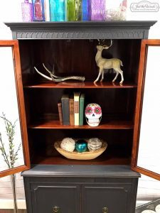 natural-wood-inside-china-cabinet, original wood, gray paint, paint and stain, painted furniture