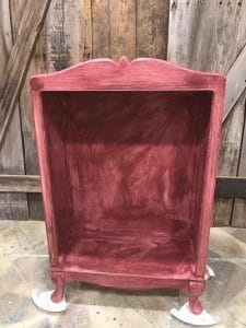 painted bookcase, cranberry, chalk paint, paint mdf, how to paint mdf