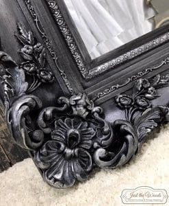 ornate-pewter, metallic pewter, ornate mirror, nyc, just the woods