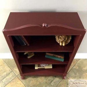 distressed, painted bookcase, bookcase, chalk paint, pure home paint, cranberry bliss, just the woods