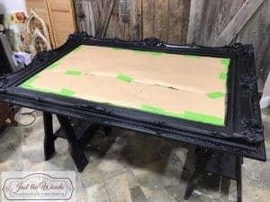 painted-black-mirror, chalk paint, black chalk paint
