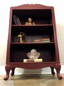 bookcase, painted furniture, just the woods, curves, distressed, cranberry, chalk paint