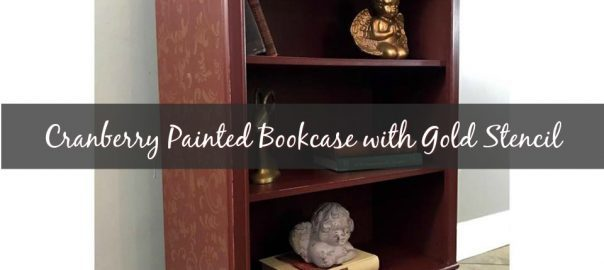 painted bookcase, paint mdf, stencil, just the woods,