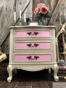 painted-chest, painted nightstand, chalk paint, pink paint, antique glaze, manhattan