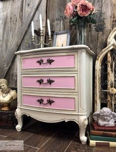 painted-chest-of-drawers, french provincial, vintage furniture, chalk paint, pink and cream, painted chest, just the woods, staten island, njc
