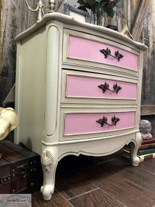 painted-nightstand-pink-drawers, french provincial, painted chest, nightstand, staten island, nyc