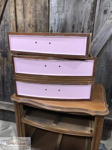 painted-pink-drawer, french provincial, chest, painted chest, vintage furniture