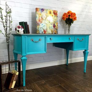 painted-vintage-desk, teal desk, vintage desk, shabby chic, just the woods