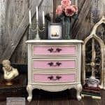 Pink & Cream Painted French Provincial Chest