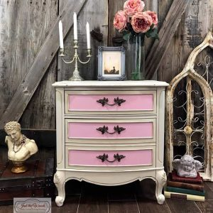pink-and-cream-painted-chest, painted furniture, staten island, french provincial, pink and cream, antiqued, glazed, shabby chic