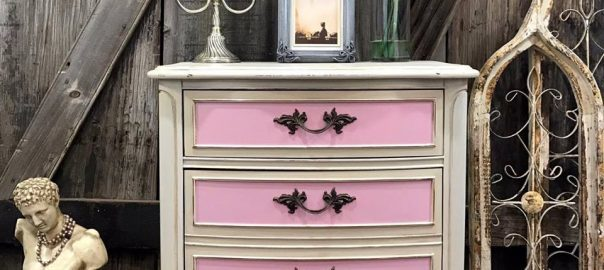 french provincial, painted furniture, pink, chalk paint, shabby chic