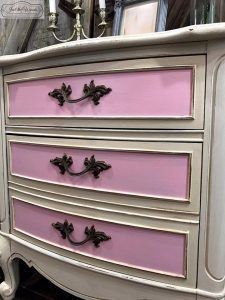 pink-drawers, french provincial, painted pink, vintage, glazed, nj, ny, girls furniture, dixie furniture
