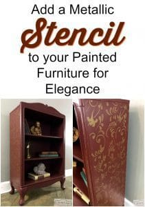 add stencil to furniture, painted furniture, metallic paint, cranberry painted bookcase, just the woods