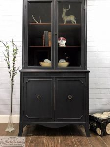 tall-china-cabinet, graphite, chalk paint, just the woods, non toxic, painted furniture