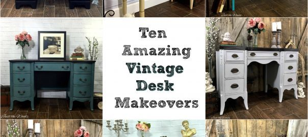 vintage desk, painted desk, painted furniture