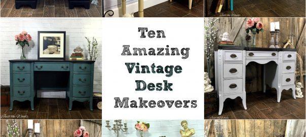 vintage desk, painted desk, painted furniture