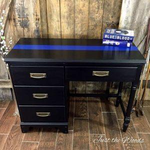 thin-blue-line-painted-desk, thin blue line furniture, painted desk, vintage desk, ny, nj, just the woods