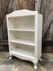 unfinished bookcase, cranberry, chalk paint, bookcase, staten island, shabby chic, stencil