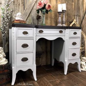 vintage-desk, gray painted desk, espresso stain, just the woods, chalk paint