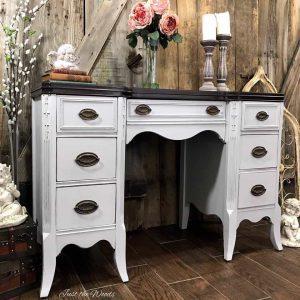vintage-desk, gray painted desk, espresso stain, just the woods, chalk paint
