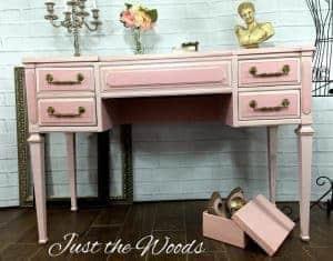vintage-desk, vintage vanity, painted desk, painted vanity, vintage furniture,