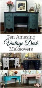 vintage-desk-makeovers, painted desk, vintage furniture, chalk paint, shabby chic, just the woods