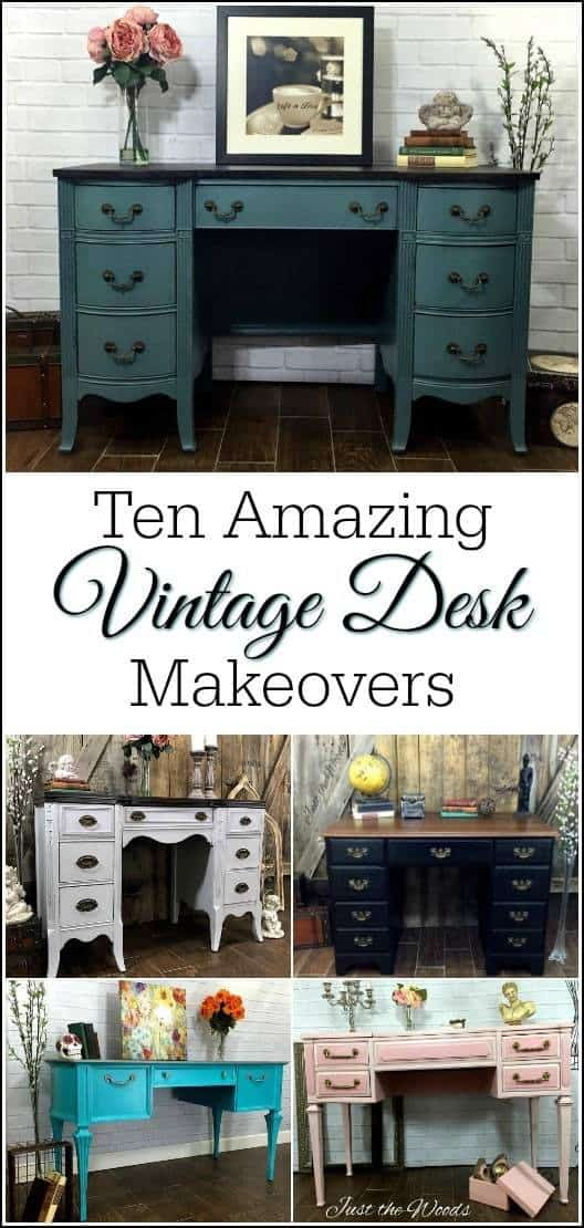 vintage-desk-makeovers, painted desk, vintage furniture, chalk paint, shabby chic, just the woods