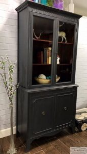 vintage-graphite-chalk-paint, painted china cabinet, vintage furniture, chalk paint, charcoal, staten island