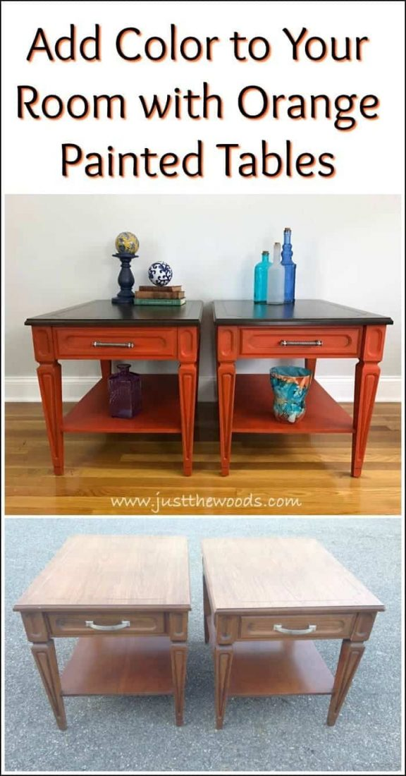 add-color-orange-painted-tables, painted furniture, orange chalk paint, pure home paint, staten island