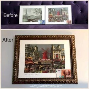 before-and-after-new-frames, how to improve gallery wall