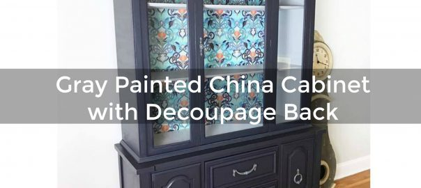 painted china cabinet, decoupage, spoonflower