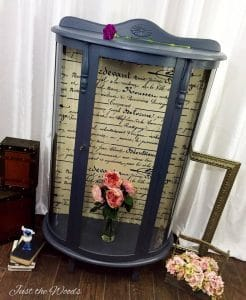 curio-cabinet-with-fabric-decoupage, painted curio, vintage curio, gray chalk paint, decoupage,