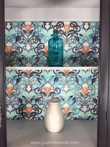 decoupage-fabric, spoonflower, decoupage, painted china cabinet, new york, just the woods