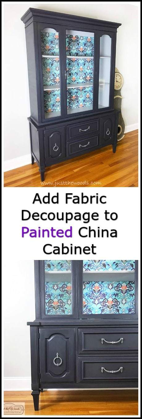 A painted china cabinet with gorgeous fabric decoupage. Deep gray with purple undertones make this painted china cabinet amazing. #paintedfurniture #paintedcabinet #furnituremakeover #paintedchinacabinet #furnituredecoupage #paintedfurnitureideas #fabricdecoupage via @justthewoods