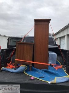 furniture-in-truck, moving vintage furniture, pick up truck, vintage china cabinet, staten island
