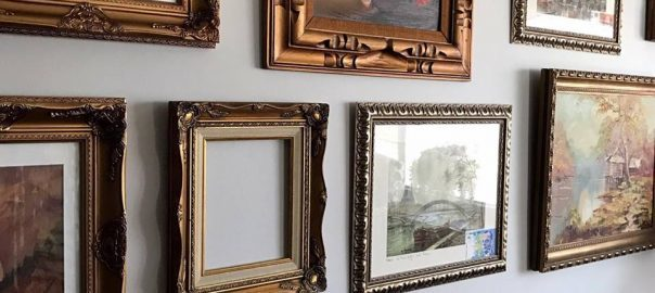 gallery wall, ornate frames, vintage style, museum style