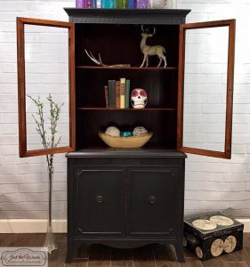 graphite-chalk-paint-china-cabinet, vintage-charcoal-painted-china-cabinet, gray painted furniture, nyc, staten island, china cabinet, chalk paint
